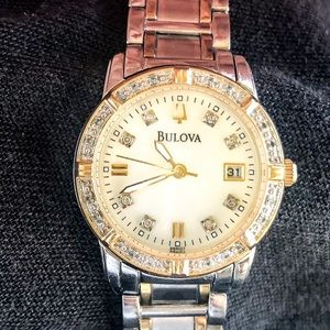 BULOVA Diamond Watch 24 diamonds; mother of pearl